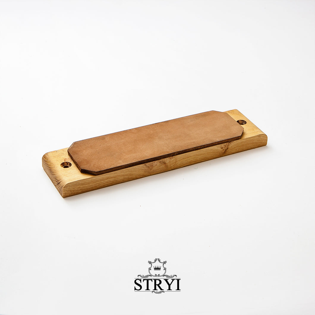 Leather strop for sharpening, polishing, finishing knives, straight chisels