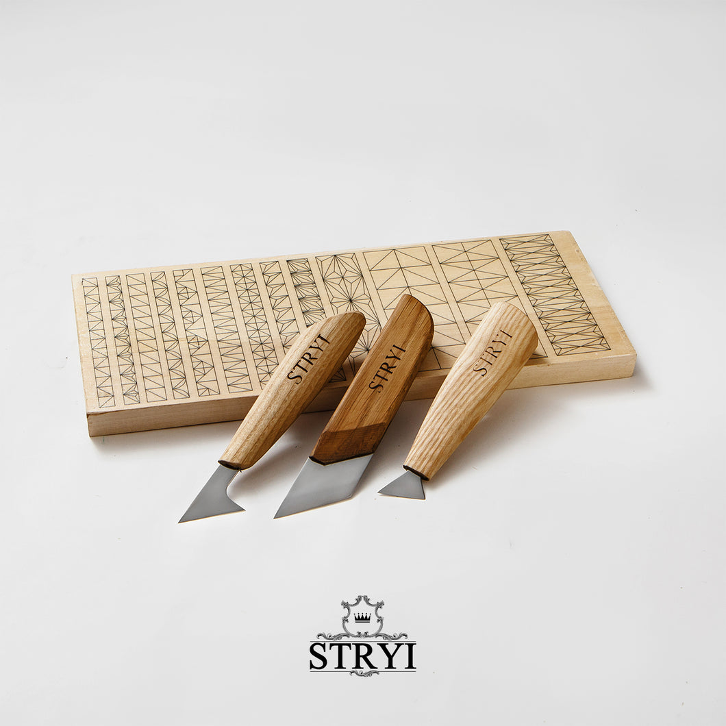 Woodcarving knives set for beginner carver with practicing board STRYI