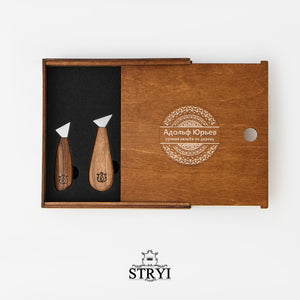 Basic wood carving tools set in wooden box STRYI & Adolf Yurev