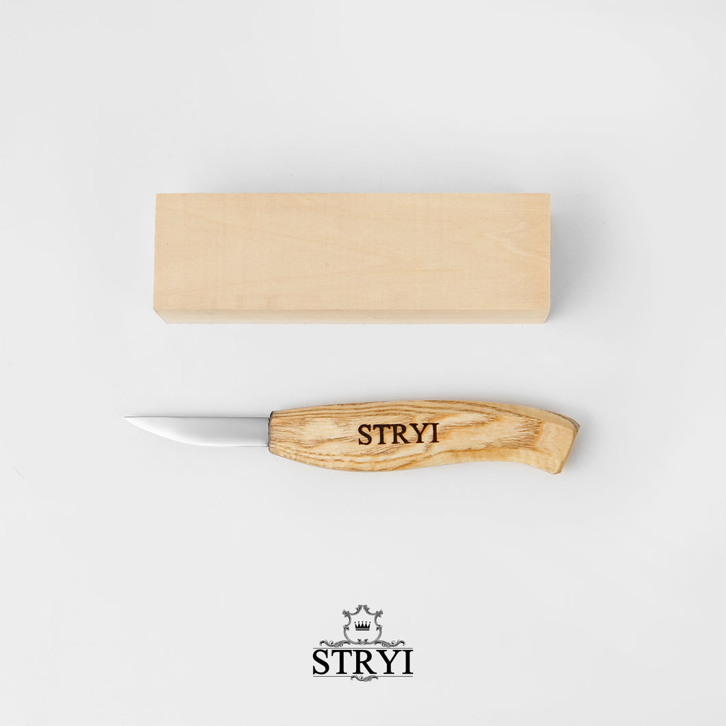Figures carving kit - knife with basswood blank STRYI