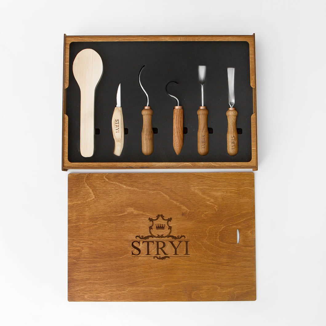 Spoon carving tools set 5pcs in wooden gift storage box,  STRYI