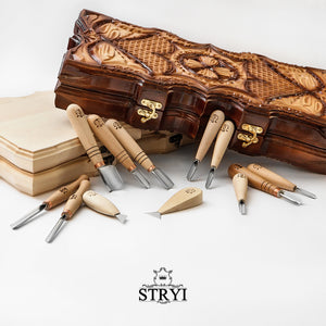 Starting set for woodcarving, basic 12 tools kit, STRYI Adolf Yurev