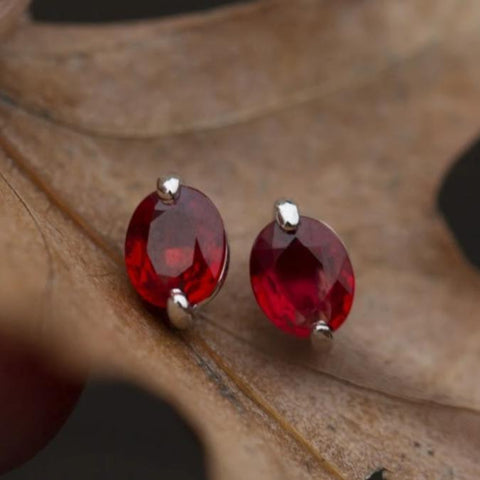 Red Sapphire Earring Fine Jewelry Gift Gemstone Earring White Gold