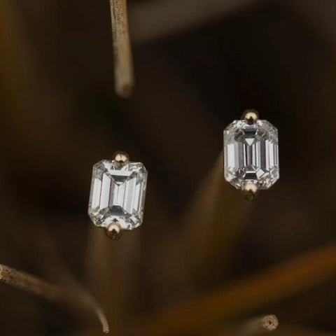 Ethically sourced diamond studs make excellent gift with Protektor locking backs .6 Carats GH Color Hi Clarity Diamonds with 14kt Karat Gold backings