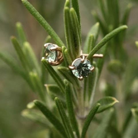 Teal Blue ethically sourced Montana Sapphire stud hand made Earrings