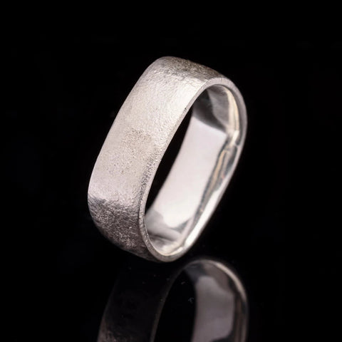 Square modern Mens gents wedding ring Band Brushed finish Matte texture