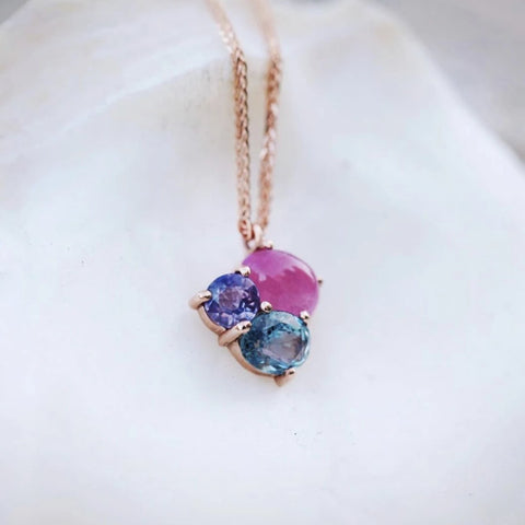 Birthstone Cluster Necklace