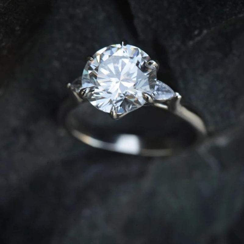 Three-stone Isela Ring with 3.19ct Diamond