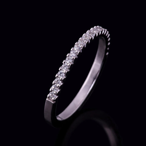 Classic diamond wedding band stacking ring freeman design claw setting