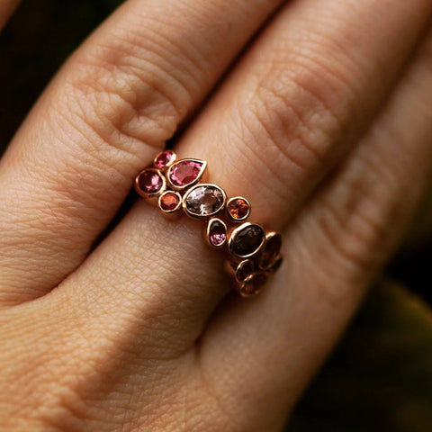 Multi Sapphire cluster gold bezel ring with pink red champagne saphhires and Tourmaline ring