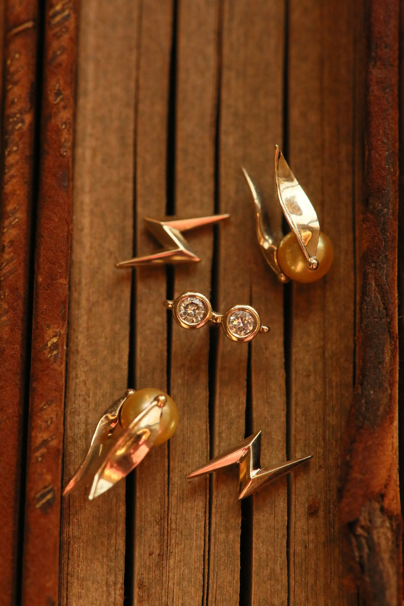 Golden Pearl Snitch Earrings