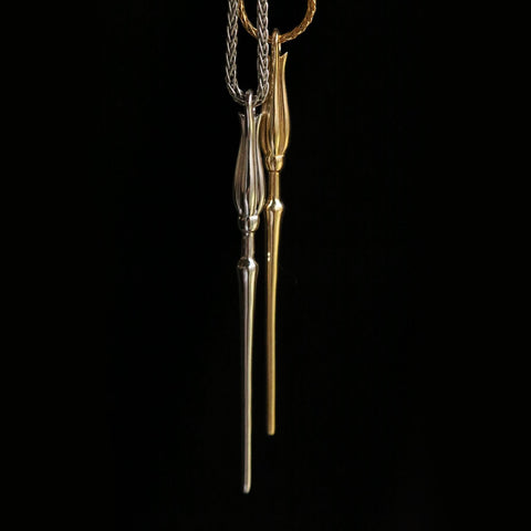 Silver and Gold Luna Wands on Wheat Chain