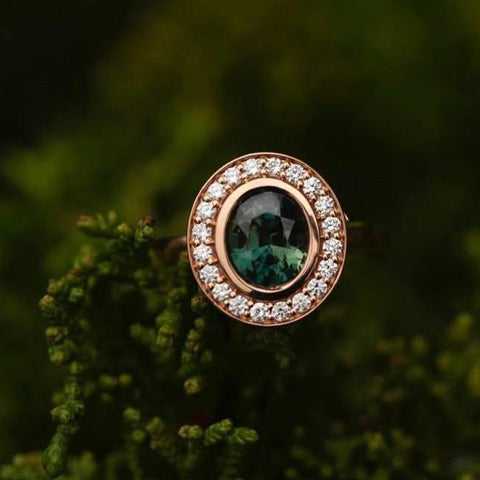 Diamond Trillion Ring featuring a 2.5 carat green sapphire center stone