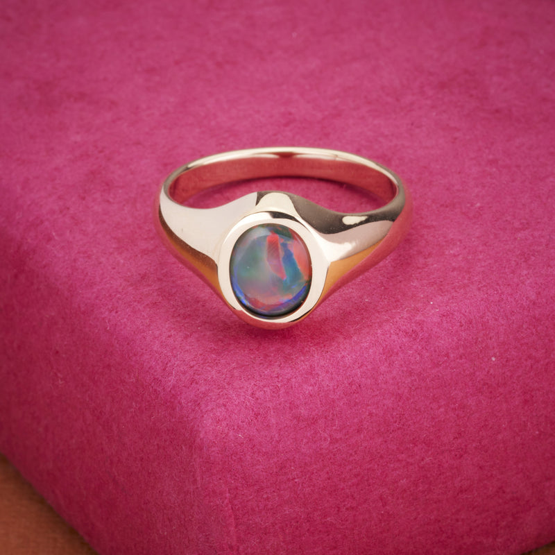 Australian Lightning Ridge Semi-Black Opal Signet Ring