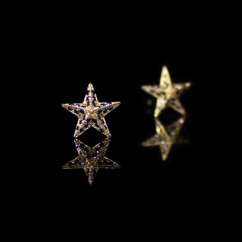 Diamond Star earrings Yellow gold White gold Black diamond earrings