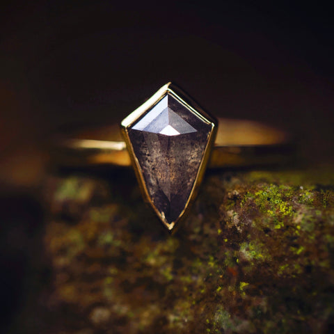 Kite Ring with salt and pepper diamond