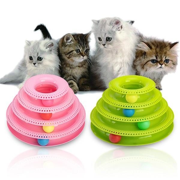 4 Layers Turntable Play Disc Cat Toys Crazy Ball Disk Anti-slip Interactive Plate For Kitten