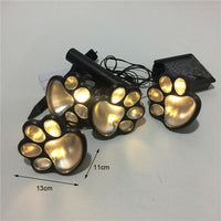 4 LED Solar Powered Animal Paw Print Lights