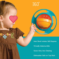 360 Degrees Rotate Spill-Proof Baby Feeding Dishes