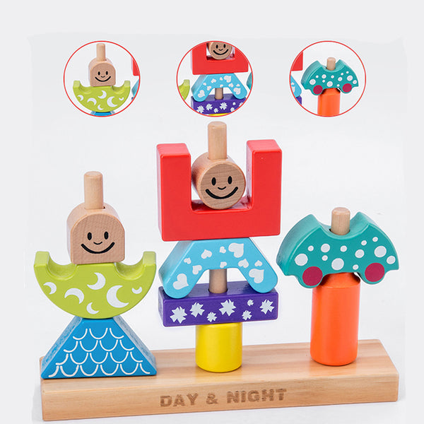 Educational Pillar Blocks Early Learning Baby Wooden Toy