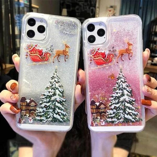 Christmas Themed Shining Quicksand Mobile Case
