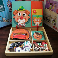 Preschool Education Toys - Magnetic Imagination Puzzle Wooden Box