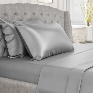 LUXURY SILK FITTED & FLAT SHEET SHEET SET QUEEN SIZE 6 COLOURS