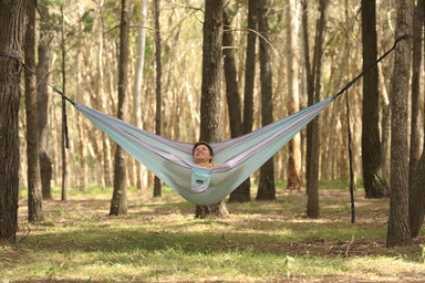 Twilight Blue Recycled Double Hammock with Straps - Nakie