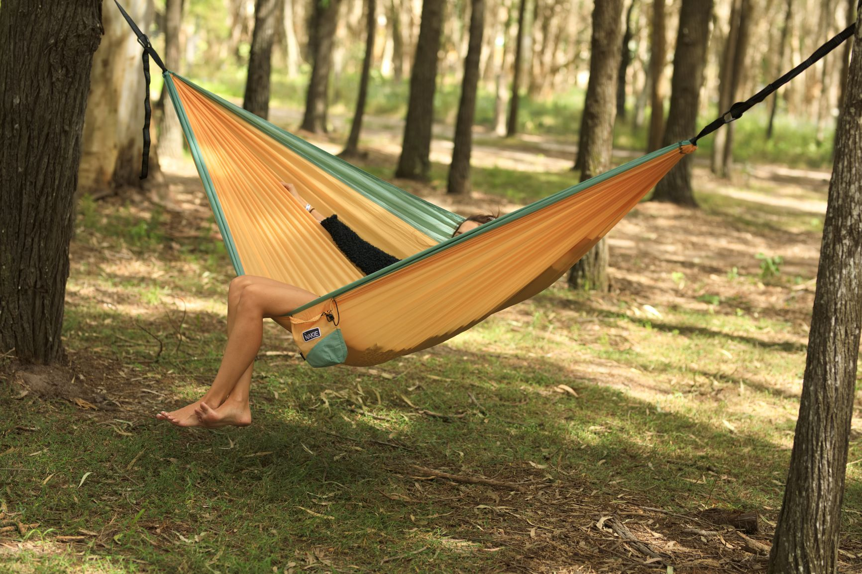 Golden Mango - Recycled Double Hammock with Straps - Nakie