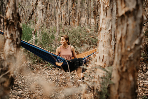 Load image into Gallery viewer, River Blue - Recycled Double Hammock with Straps - Nakie