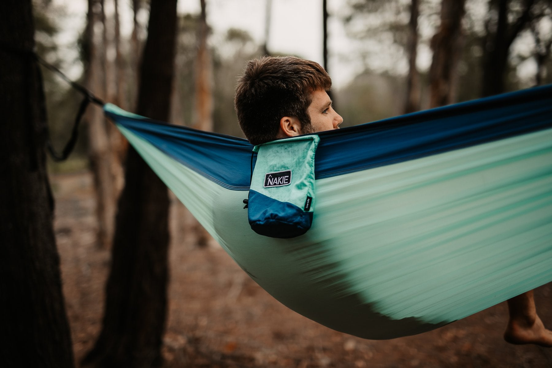 Sky Blue - Recycled Double Hammock with Straps - Nakie