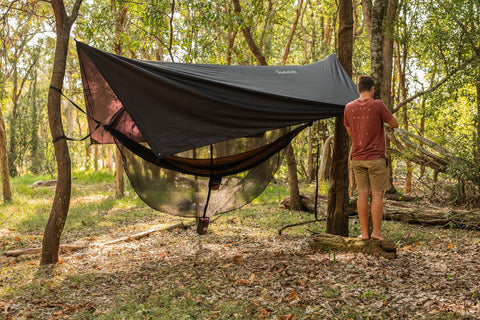 Load image into Gallery viewer, Recycled Hammock, Straps, Tarp & Bug Net Combo - Nakie