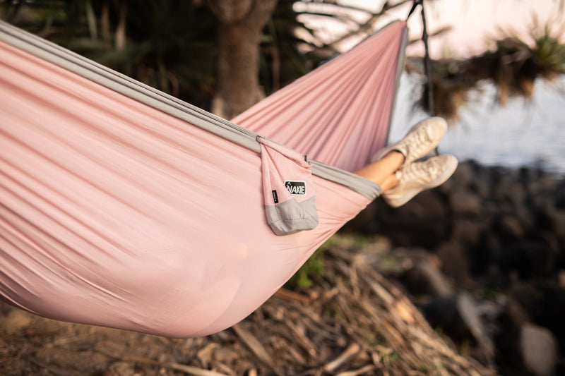Pastel Pink Recycled Double Hammock with Straps - Nakie
