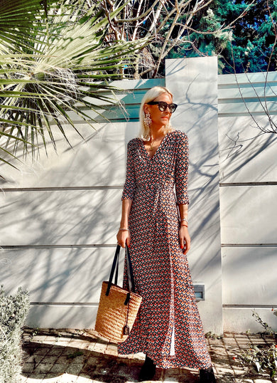 The OLIVIA Mosaic Wrap Maxi Dress