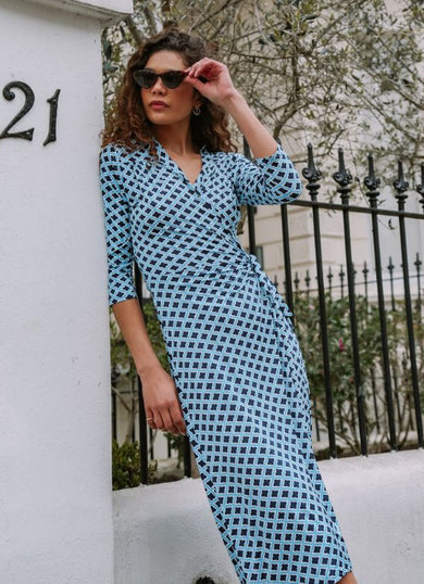 The KATE Geometric Blue Wrap Dress