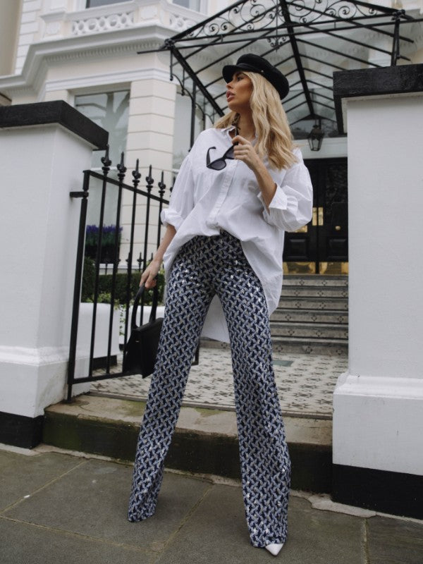 The MILA Palazzo Trousers in Navy Print