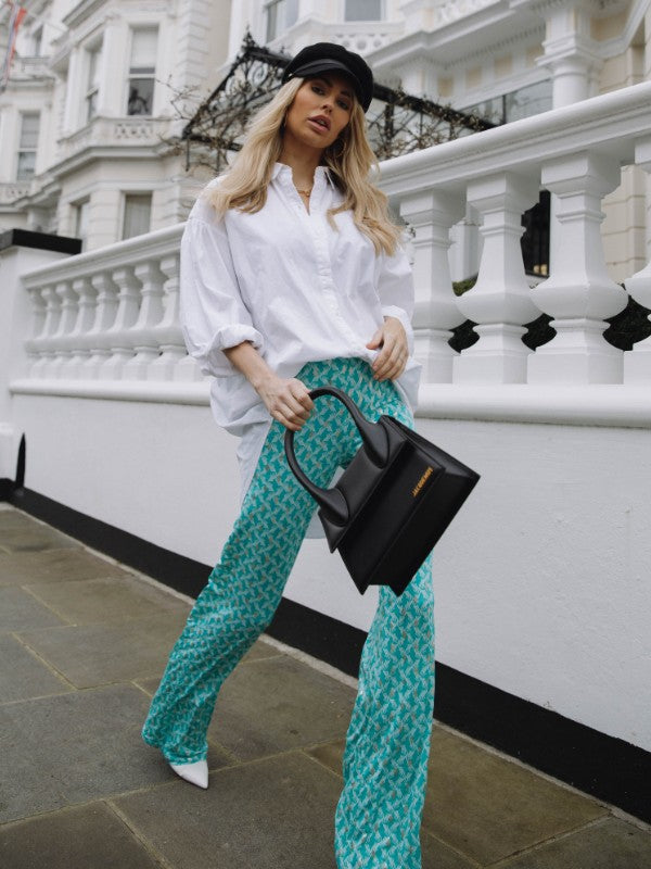 The MILA Palazzo Trousers in Turquoise Print