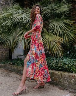 Tropical Wrap Maxi Dress