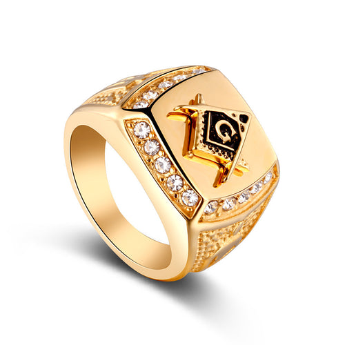 Sello Dorado 2019 Gold Stainless Steel Men's Crystal Masonic Ring