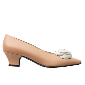 Prana camel leather white flower