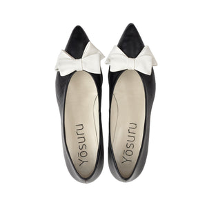 Prana soft black leather white bow