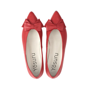 Satya red leather bow