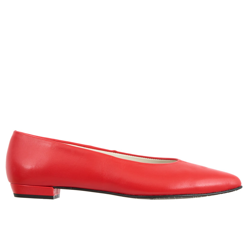 Satya red leather pointed flat pump