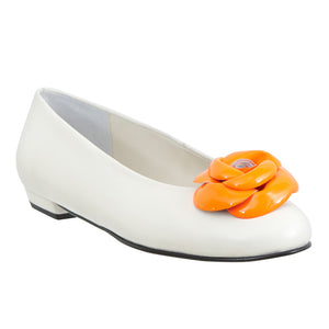 Yama white leather fluo orange flower