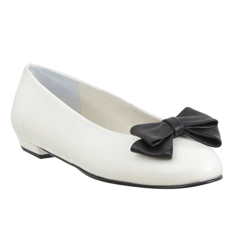 Yama white leather black leather bow