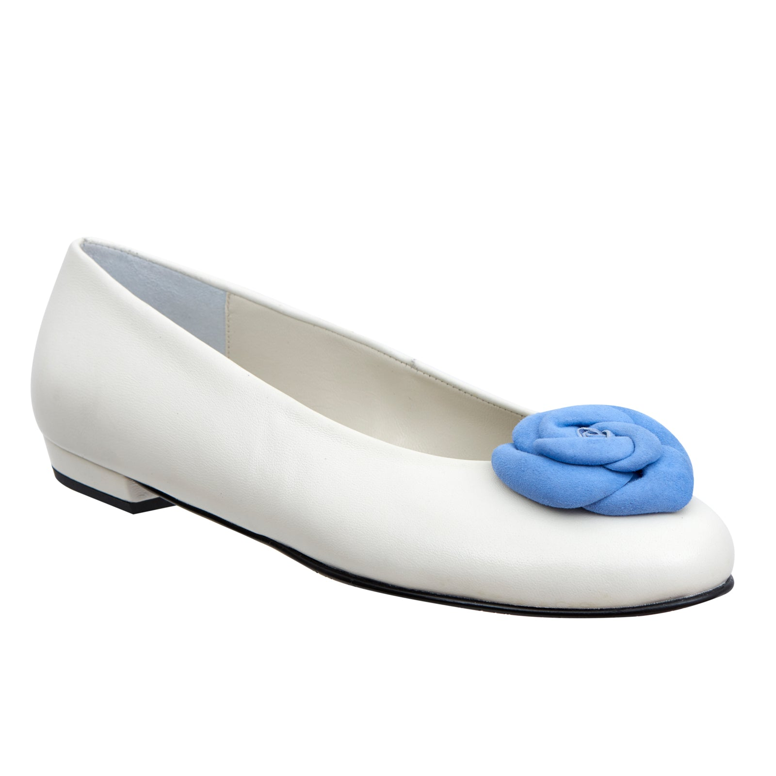 Yama white leather pastel blue flower