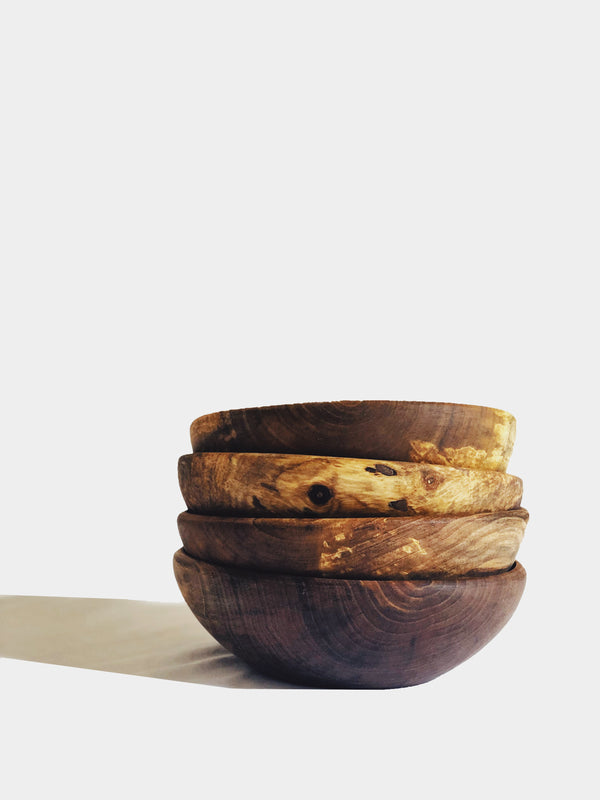 Medium Wooden Bowl Set x 4