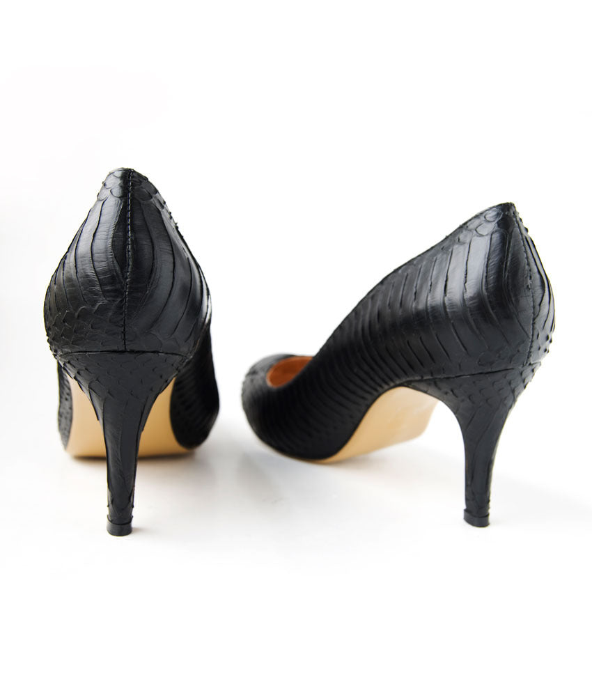 Womens Large Size Shoes | Nat-Sui Classic Black Court Heel - Back