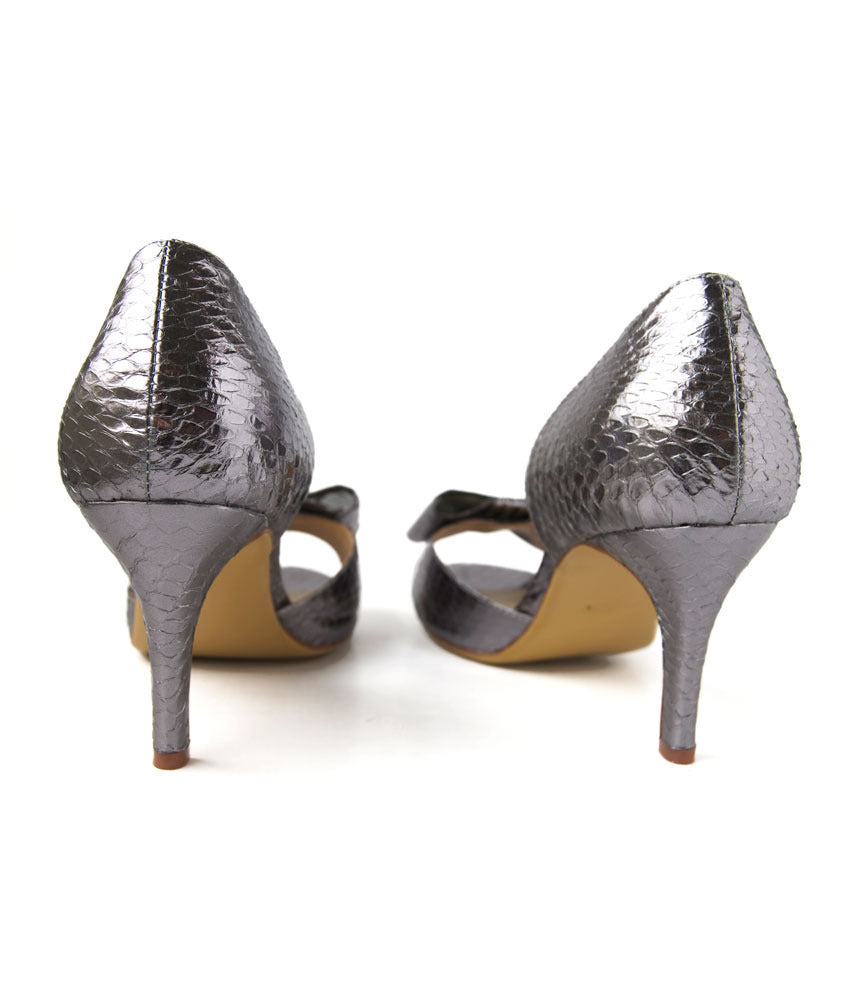 Womens Large Size Shoes | Nat-Sui Minnie Silver Bow Heel - Back