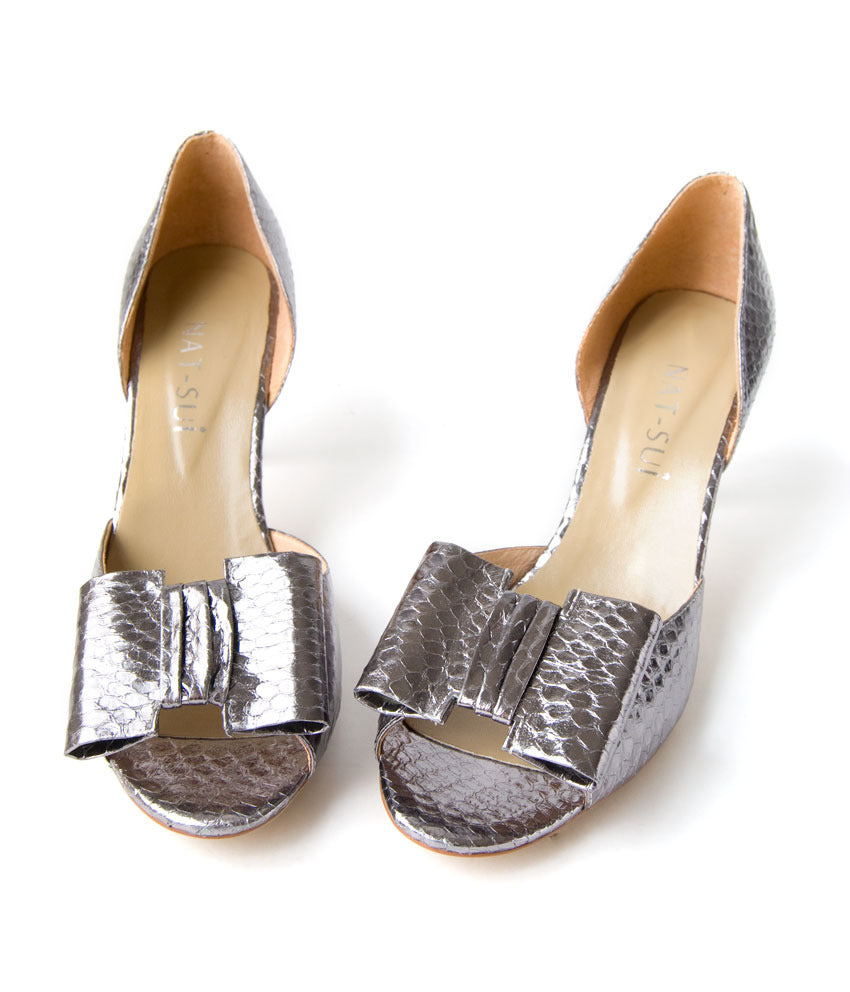 Womens Large Size Shoes | Nat-Sui Minnie Silver Bow Heel - Top